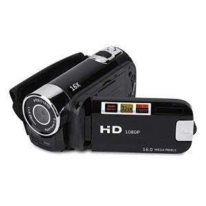 Caméra vidéo numérique Caméscope 1080P 16MP Full HD Rotation 270 ° Grand angle Enregistreur de caméra de vlogging Écran IPS 3,0 pouces Caméscopes Zoom 16X batterie au lithium NP5C intégrée(Noir-EU)