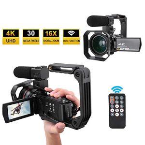 Caméra Vidéo Numérique, WIFI 4K Full HD 16X Caméscope Vidéo avec 3,0 Pouces Écran Tactile Supporte Vision Nocturne, Microphone Externe pour Enregistreur Caméra YouTube Vlogging.(Sans batterie)