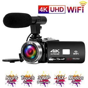 """Camescope 4K 24FPS WiFi 30MP Caméscope Numerique HD avec écran Tactile de 3,0 """"à Vision Nocturne Infrarouge Camescope avec Microphone Time-Lapse"""