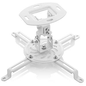 deleyCON Universel Support Plafond pour Vidéoprojecteur – Inclinable +-15° Pivote à 360° Charge Jusqu'à 13,5Kg Conduit de Câble – Blanc