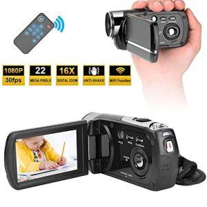 Garsentx Caméra Vidéo Numérique, 16X Zoom 1080P 22MP HD Caméra DV Numérique WiFi avec 3 Pouces LCD Écran Tactile, Télécommande Support Vision Nocturne, Caméscope pour Youtube Vlogging.