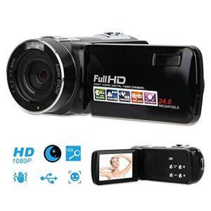 Garsentx Caméscope Haute définition avec écran LCD 3 Pouces, 24 Millions de Pixels, Zoom 18x, Enregistrement vidéo numérique HD, Prise en Charge de la Carte mémoire 32 Go, télécommande, Noir