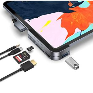 Hub USB Invisible C Pour Ipad Pro, Ipad Pro 2018 Station D'accueil 6 En 1 Ipad Pro Dongle USB 3.1 Adapteur (5Go / S), 4K HDMI, Casque Et Carte 3,5Mm Micro / SD Les Lecteurs Pour 2018 Ipad Pro Et Plus