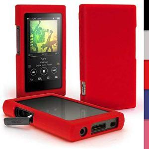 igadgitz Rouge Étui Housse Case Cover Silicone pour Sony Walkman NW-A35 NW-A40 NW-A45 MP3 Lecteur + Protecteur d'écran