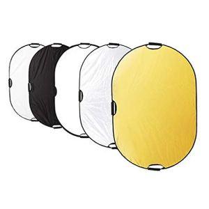 Jtoony Réflecteur de Lumière Réflecteur Ovale 80 * 120cm Portable Universel Photographique Pliable Photographie Lumière Conseil Équipement 5-en-1 Photographie Reflect Plate Réflecteurs
