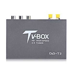 KIMISS Car TV Box, 1080P HD DVB-T2 Mobile Car Digital TV Box Receiver 2 Antenna Tuners Remote Control Strong Signal Receiver
