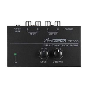 Luntus PréAmplificateur de PréAmpli Phono Ultra-Compact Pp500 avec Contr?Les de Niveau et de Volume EntréE et Sortie RCA Interfaces de Sortie de 1/4 Po, Fiche EuropéEnne