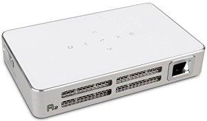 Luxburg® shot9HD Ready DLP portable Projector Vidéoprojecteur 300lumennative Résolution 854x 480Support 1080p HDMI, USB, MHL, Micro SD, 2100mAh Batterie avec jusqu'à 2heures d'autonomie Blanc
