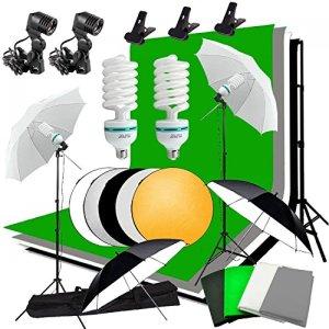 MDFGHJD Kit de Photographie en continu Kit de Fond Kit 2X135w Ampoule pour Photo 2X Support de lumière 60cm Panneau de réflecteur 5 en 1