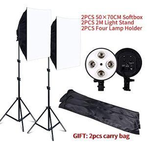 MDFGHJD Kit de Photographie Softbox Lightbox 8 PCS LED Studio de Photo Caméra Équipement d'éclairage 2 Support pour Lampe à lumière 2 Softbox avec Sac de Transport