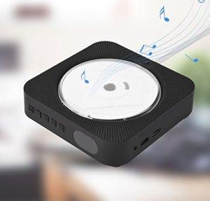 Naroote Lecteur DVD, Nouveau Haut-Parleur CD Bluetooth Mural avec télécommande(Noir)