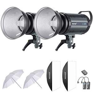 Neewer 800W Flash Strobe Studio Kit d'Eclairage:(2)400W Monolight,(2)Réflecteur Diffuseur,(2)Softbox,(2)84 cm Parapluie,(1)RT-16 Déclencheur Sans Fil, Monture de Type Bowens(S-400N)