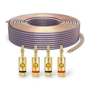 PureLink SP020-010 Câble d'enceinte 2 x 4,0mm² (99,9% OFC cuivre Massif 0,10 mm) Câble de Haut-Parleur HiFi, 10m, Transparent, Set Comprenant 4 fiches Bananes