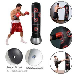 RHG Sac de Sable Gonflable Fitness-Inflatable Bag-Target, Rebond de soulagement de la Pression avec Pompe, Sac de Sable, Noir