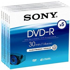 Sony 5 DVD-R 8 cm pour Caméscope 1,4 Go 30 mins 5DMR30A