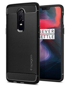 Spigen Coque OnePlus 6, [Rugged Armor] Resistant, Anti-Choc [Noir] Fibre de Carbone, Coque Etui Housse pour OnePlus 6 (K06CS23358)