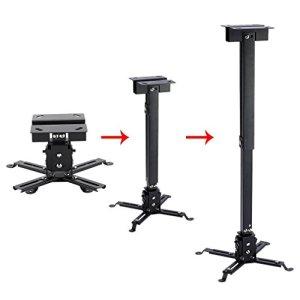 Support de plafond pour vidéoprojecteur universel extensible pour maison bureau Salles de réunions portée jusqu'à 25kg, support réglable pour projecteur 43–65cm (Noir)
