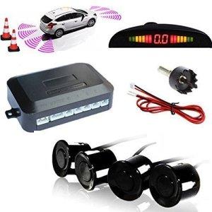TKOOFN Kit Radar De Recul 4 Capteurs NOIRS Auto Système Parcage Stationnement Numérique Ecran LED