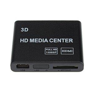 [2016 Nouveaux Version] Patuoxun mini HD TV Lecteur Multimedia Lecteur Multimedia Full HD 1080p USB HDMI AV YUV Adaptateur SD MMC MS Télécommande Lecteur Flash Drive, disque dur externe et une carte SD / MMC / MS, décoder le contenu inclus