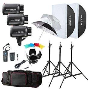 3x Godox E250 250W Flash Photo Studio avec 2x 33 Pouces Réflecteur Parapluie Blanc et Argenté, RT-16 Flash Déclencheur, 3x Trépied de Flash, 2x 50x70cm Softbox Universel, Barndoor BD-03, Sac de Transport, Câble de Synchronisation + Letwing Chiffonnette en Microfibre