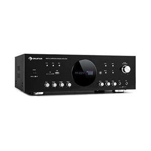 AUNA AMP-218 BT – Amplificateur Surround numérique 5.1, Bluetooth, entrée AUX pour lecteurs CD/DVD, USB, Lecteur SD, Tuner FM, 5 Sorties d'enceinte:2 x 120 Watts RMS et 3 x 50 Watts RMS, Noir