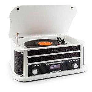 auna Belle Epoque 1908 • Chaîne rétro • Platine Vinyle • Chaîne stéréo • Radio digitale • DAB+ • Tuner Radio • Bluetooth • Lecteur CD • MP3 • Fonction RDS • Lecteur de cassettes • Port USB • Blanc