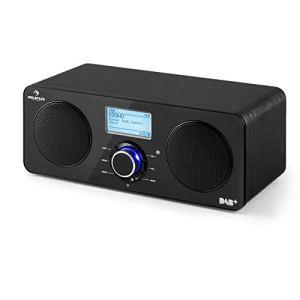 AUNA Worldwide Black Line – Radio Internet stéréo, Tuner Dab/Dab+, Tuner FM RDS, Spotify Connect, Contrôle par appli, Télécommande, Multiroom, Ecran LCD, USB, Noir