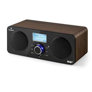 AUNA Worldwide Walnut Line – Radio Internet stéréo, Tuner Dab/Dab+, Tuner FM RDS, Spotify Connect, Contrôle par appli, Télécommande, Multiroom, Ecran LCD, USB, Noyer