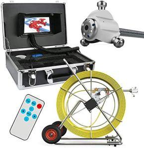 BD.Y Caméra vidéo d'inspection de Tuyau, système de caméra d'inspection d'inspection des égouts étanche 120M IP68 7″ Appareil Photo LCD DVR 1000TVL avec Carte SD de 8 Go