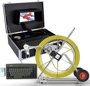 BD.Y Endoscope Industriel d'appareil-Photo d'inspection de Tuyau de 80M 7″ LCD DVR avec Le Compteur de Longueur et Le Clavier incluent la Carte d'écart-Type 8GB