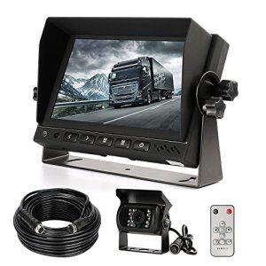 Caméra de recul et kit de moniteur, HD étanche Vision de nuit Caméra de recul filaire + 17,8cm LCD Monitor Système d'assistance Parking pour voiture/BUS/camion/Van/caravane/remorque/Camper (Cl718d)