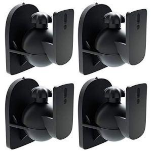 deleyCON 4X Support Mural Universel pour Enceintes Fixation de Boîtes Rotation + Inclinaison Résistant à Une Charge Max. 3,5kg Montage Mural + Montage au Plafond – Noir