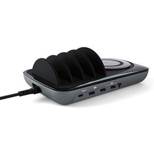 DONGBALA Station de Charge, Intelligente de Bureau avec pavé de Chargement sans Fil pour Téléphones, Tablettes, Appareils Photo/Haut-Parleurs (Noir)
