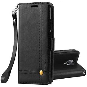 Ferilinso Coque pour Xiaomi PocoPhone F2 Pro Coque, Housse Elegant Retro Cuir Coque avec ID Carte de crédit Slot Holder Flip Cover Stand Housse de Fermeture magnétique (Noir)