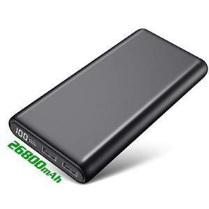 HETP Batterie Externe 26800 mAh [Avec Écran LCD Numérique 100%-0 ] Power Bank Chargeur Portable Batterie de Secours avec 2 Ports USB Sortie Charge Rapide Powerbank pour Smartphones Tablettes et Plus