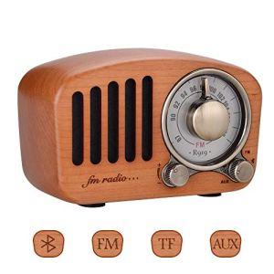 Olycism Acajou Bois FM Radio avec Bluetooth 4.2 Enceinte Design rétro de Radio FM Jack Audio 3.5 mm Cartes TF Son Stéréo 5W