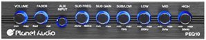 Planet Audio PEQ10 Planet 4 Band Equalizer Aux input master volume control half DIN size chassis