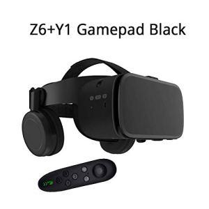 QHAI VR Lunettes de réalité virtuelle Casque, pour iOS/Android Smartphone Goggles, Z6 sans Fil Bluetooth Édition,Black + y1