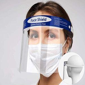 Qsdd Sécurité Visière de Protection Visage,Élastique et Éponge de Confort Protection Intégrale Ajustable Anti-Brouillard Poids Léger Transparent Face Shield pour Hommes et Femmes-(2 PCS)