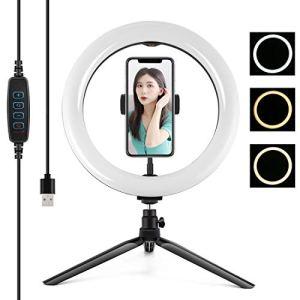 Ring Light,Selfie Ring Light, Bureau trépied + 10.2 pouces 26cm USB 3 Modes Dimmable double température de couleur LED courbe Diffuse Annulaire Vlogging selfie Photographie Torches Vidéo avec téléphon