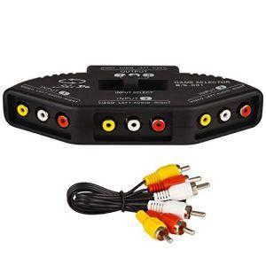 Rybozen RCA Commutateur Switch Sélecteur Splitter avec AV câble, Audio/Vidéo 3-Input 1-Output Adaptateur pour Connexion de 3 périphériques de Signal RCA à 1 Moniteur
