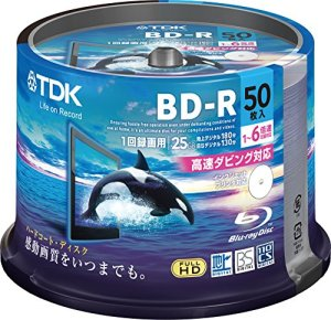 TDK BD-R 25GB 6x Speed 50 Pack Spindle Printable BluRay Blank Hard Coat Discs (Ver. 2012)