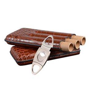 TYX Étui à cigares, étui à Tubes en Cuir Brun Portable, Tenir 3 Tubes avec Coupe-Cigare, pour Les Cadeaux de Vacances des Hommes de la Chambre à Coucher, etc.
