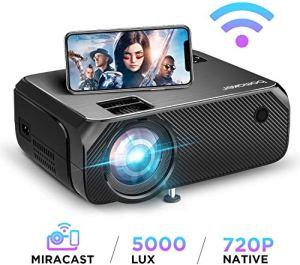 Vidéoprojecteur WiFi, Full HD 1080P Supporté 5000 Lux Wireless Screen Mirroring Projecteur, Native 720P Retroprojecteur HDMI Portable, 300» Display Android / iOS / Ordinateur / PC / Windows 10 -GC355