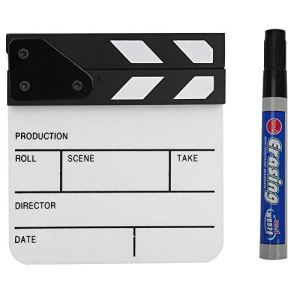 Yctze Clap Board, Metal Mini Acrylic Director Scene Clapperboard TV Movie Action Board Film Cut Prop avec Stylo(Blanc Noir)