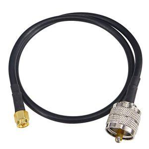 Yilianduo SMA Mâle vers UHF PL259 Radio UHF mâle RG58 Câble adaptateur antenne radio amateur Câble d'extension coaxial de 19 pouces