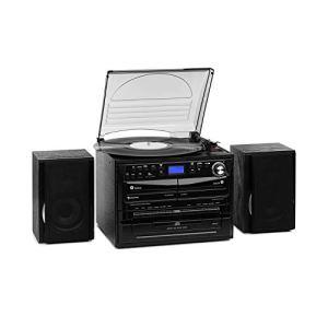 AUNA 388-DAB + – Chaîne compacte, 2 Enceintes, Fonction BT, Tuner Radio FM/Dab+, Platine Vinyle, Lecteur CD avec Fonction MP3, 2 platines Cassette, USB et SD, Fonction d'encodage, Noir