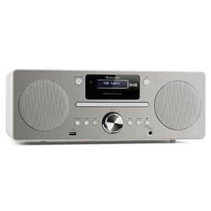 AUNA Harvard – système Micro, chaîne stéréo, Dab/Dab+ et FM, 80 Stations programmables, RDS, Fonction réveil, Bluetooth 3.0, Lecteur CD, AUX, Port USB pour Recharge, télécomande, Blanche