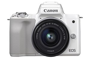 Canon EOS M50 Appareil Photo Hybride + EF-M 15-45 mm F/3.5-6.3 STM – Blanc