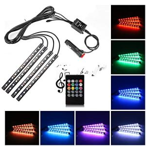 Car LED strip light, Uniwit 4pièces DC 12V Multicolore Intérieur de voiture Musique lumière LED Underdash kit d'éclairage avec son Fonction Actif et télécommande sans fil avec chargeur de voiture